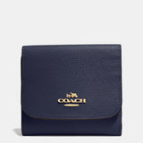 Coach Crossgrain Leather Small Wallet  - Navy