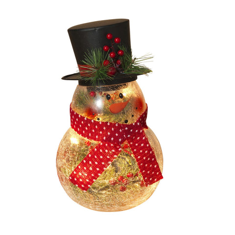 10-Inch-High Electric Lighted, Crackle Glass Snowman with Metal Top Hat