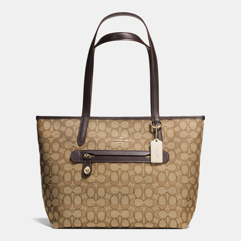 Coach Signature Taylor Tote - Khaki/Brown