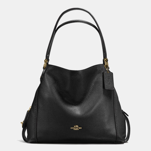 Coach Edie 31 Pebble Leather Shoulder Bag - Black