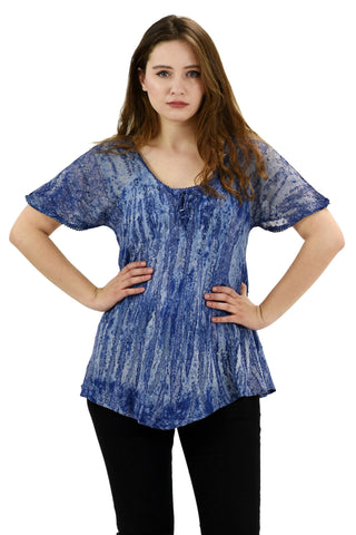 Short Sleeve Retro Tie Dye Blouse Blue S-L