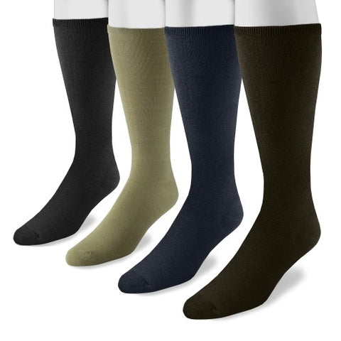 "MUK LUKS Men's 13"" Rayon from Bamboo 4 Pair Sock Pack Multi One Size Fits Most"