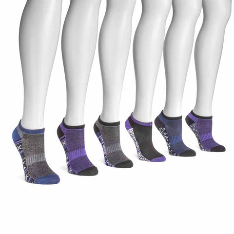 MUK LUKS Women's 6 Pair Pack No Show Compression Arch Socks Midnight Pack OSFM