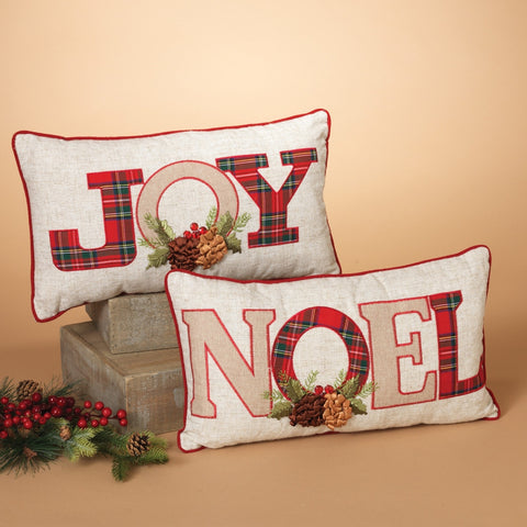 """NOEL"" and ""JOY"" Gray and Red Holiday Throw Pillows (Set of 2)"