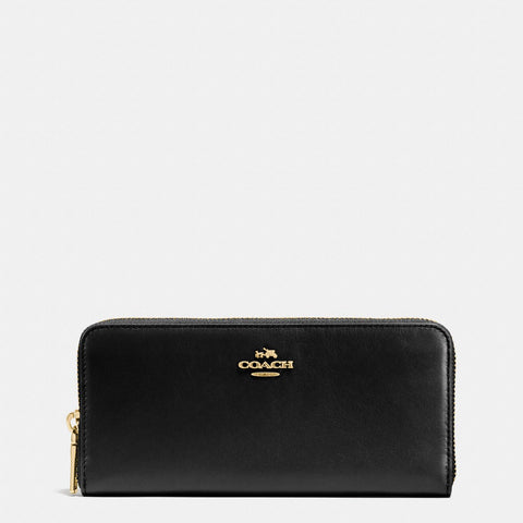 Coach Slim Accordion Leather Zip Wallet - Black