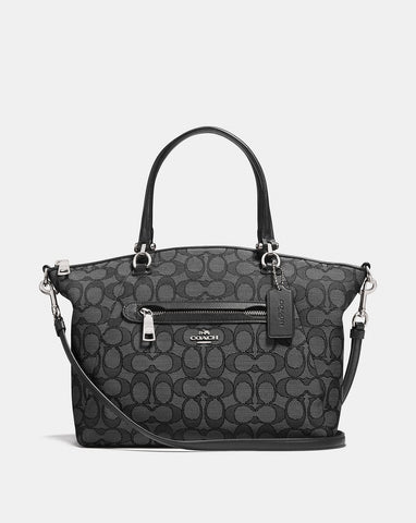 Coach Signature Jacquard Prairie Satchel Smoke/Black - A