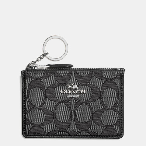 Coach Signature Mini Skinny ID Case Smoke/Black