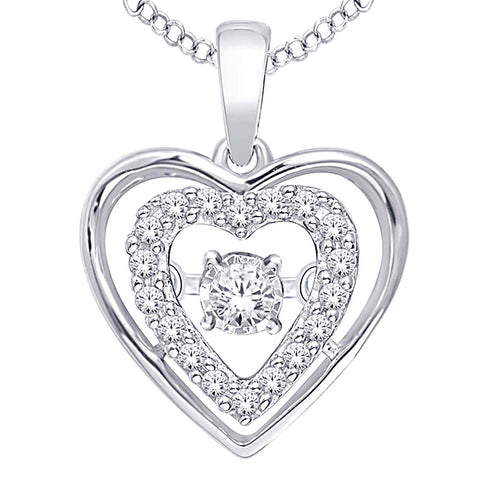 Sterling Silver Duel Heart Moving Diamond Pendant