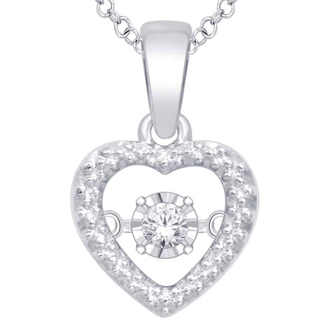 Sterling Silver Open Heart Moving Diamond Pendant
