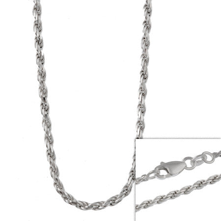 Sterling Silver 2.75mm Italian Rope Chain Necklace