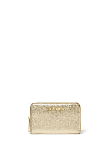 Michael Kors Jet Set Small Zip Around Card Case-Pale Gold