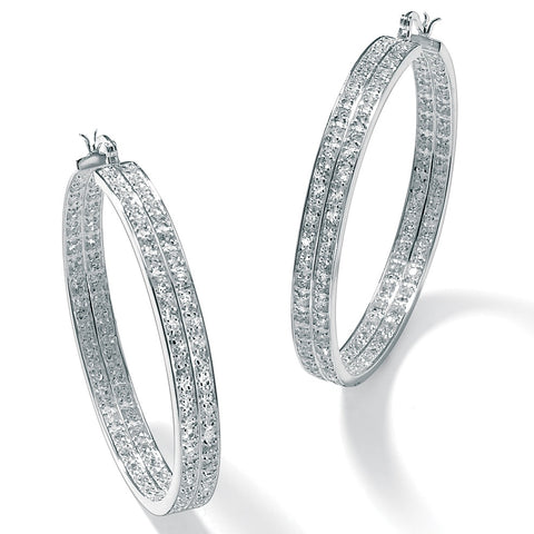 Silver Tone Inside Out Double Row Hoop Earrings,Cubic Zirconia
