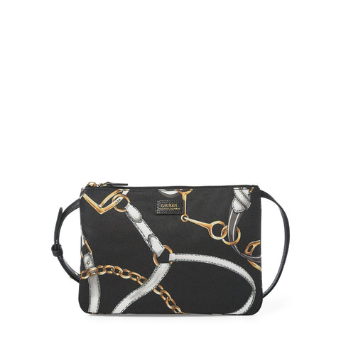 Ralph Lauren Chadwick Crossbody, Black Sig Belt Print