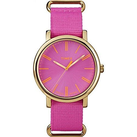 Timex Women's T2P364 Originals Modern Pink Nylon Pull-thru Strap Watch
