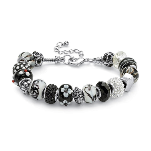 Silver Tone Antiqued Bali Style Bead Charm Bracelet, Crystal 8""