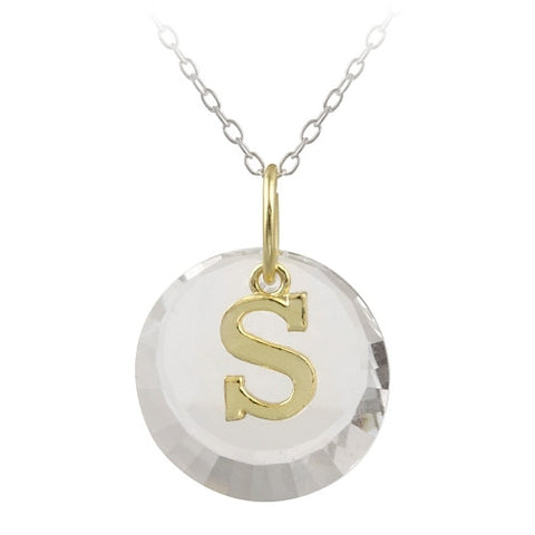 "Sterling Silver Two-Tone ""S"" Initial Necklace made with Swarovski Elements"