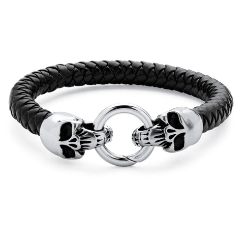 Men's Stainless Steel Double Skull Bangle Bracelet (8.5mm), Leather 9""