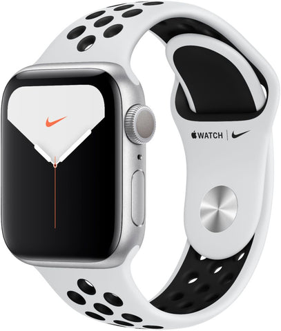 Apple Watch Nike Series 5 (GPS) 40mm Silver Aluminum Case with Pure Platinum/Black Nike Sport Band - Silver Aluminum