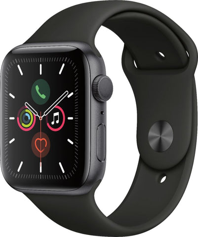 Apple Watch Series 5 (GPS) 44mm Space Gray Aluminum Case with Black Sport Band - Space Gray Aluminum