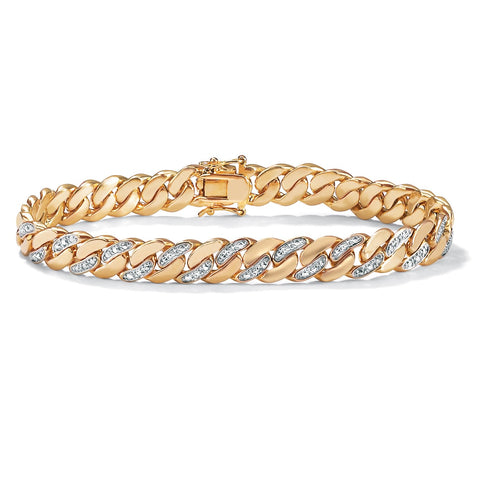 Men's 18K Yellow Gold-plated Curb-Link Bracelet (9mm), Box Clasp, Genuine Diamond Accent 9.5""