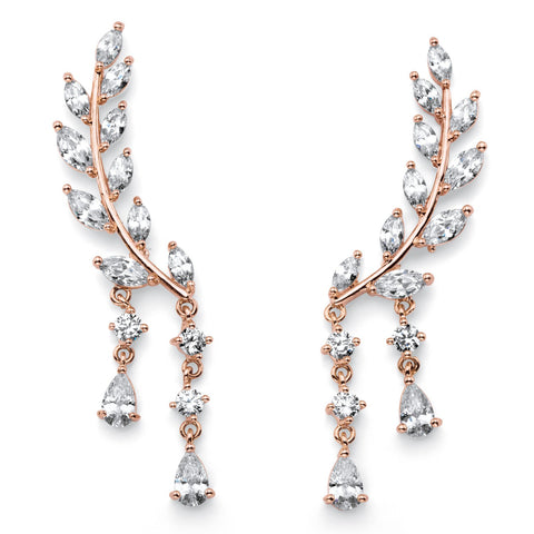 Rose Gold-plated Climber Drop Earrings (43x8mm) Marquise Cut Crystal