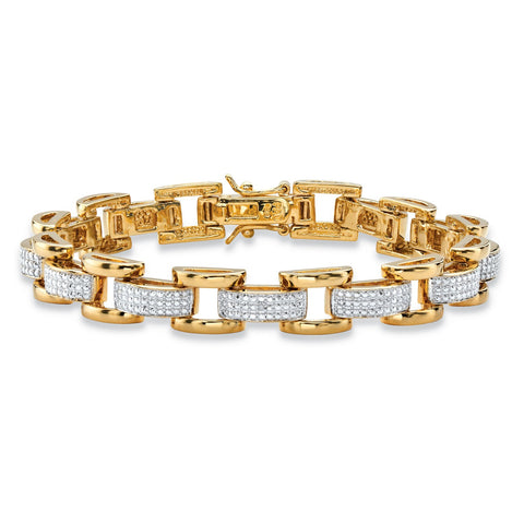 Men's Yellow Gold-Plated Link Bracelet (8.5mm), Diamond Accent 8.5""