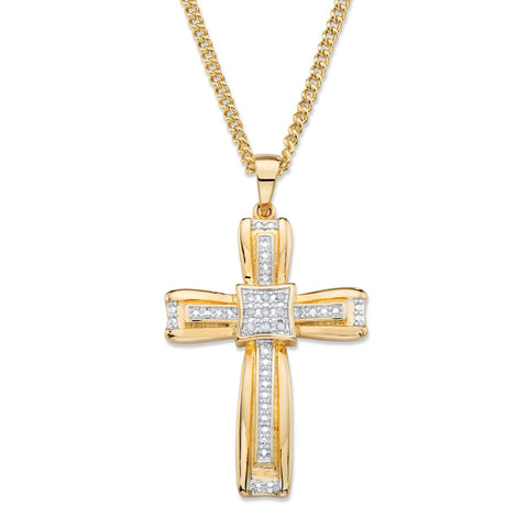 Men's 14K Yellow Gold-plated Cross Pendant (24mm) Genuine Diamond Accent