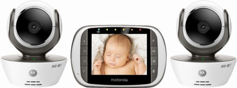"Motorola - Video Baby Monitor with 3.5"" Screen - Black/White"