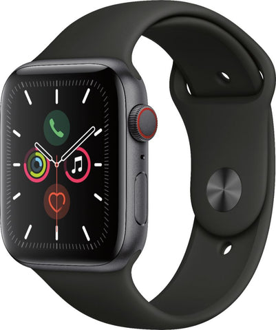 Apple Watch Series 5 (GPS + Cellular) 44mm Space Gray Aluminum Case with Black Sport Band - Space Gray Aluminum