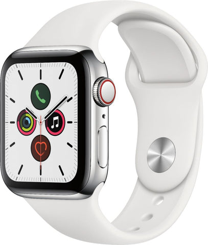 Apple Watch Series 5 (GPS + Cellular) 40mm Stainless Steel Case with White Sport Band - Stainless Steel