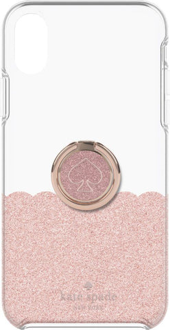 kate spade new york - Hardshell Case + Ring for Apple iPhone XS Max - Rose Gold Glitter/Clear