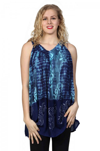 Sleeveless Ocean Tie Dye Blouse