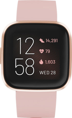 Fitbit - Versa 2 Smartwatch 40mm Aluminum - Petal/Copper Rose with Silicone Band
