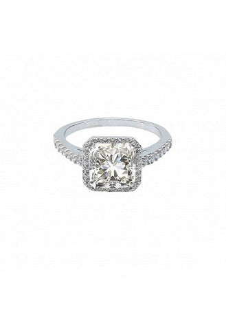 Zirconite 2.5Ct Square Halo CZ Ring - Size 8