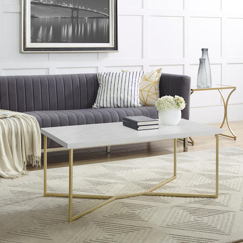 "Walker Edison 42"" Y-Leg Coffee Table - White Faux Marble/Gold"