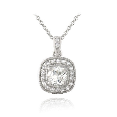 Sterling Silver 1.6ct White Topaz Square Necklace
