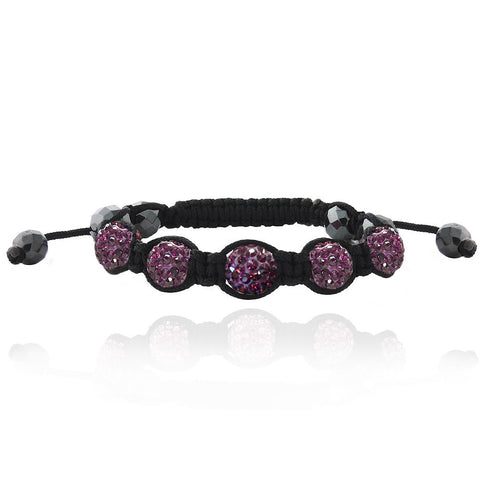 Purple Crystal Fireball & Hematite 10mm Adustable Shamballa Bracelet