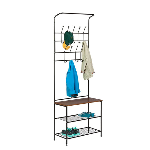 Honey Can Do Entryway Storage Valet, black/brown