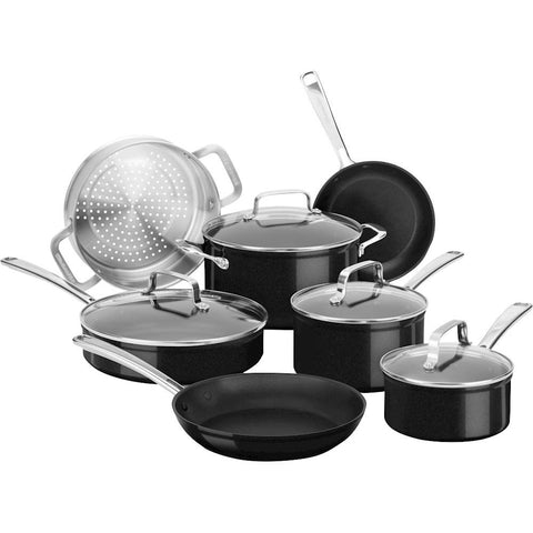 KitchenAid Hard Anodized Nonstick 11-Piece Cookware Set in Black Sapphire