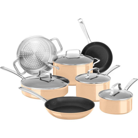 KitchenAid Hard Anodized Nonstick 11-Piece Cookware Set in Toffee Delight
