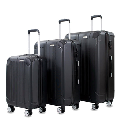 Yukon 3-Piece Expandable Spinner Luggage Set with TSA Lock and Corner Guards Black