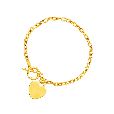 14K Yellow Gold Bracelet with Heart Charm