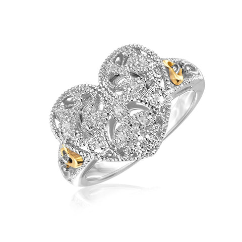 Designer Sterling Silver & 14K Yellow Gold Heart Ring - size 6