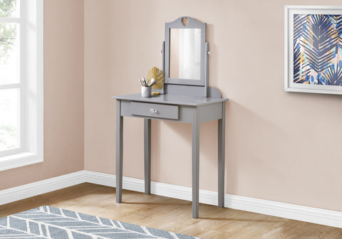 Monarch Vanity - Grey/Mirror And Storage Drawer