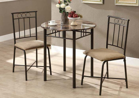 Monarch Cappuccino Marble Dining Set - 3 Pieces
