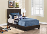 Monarch Brown Faux Leather Panel Bed Frame - Twin