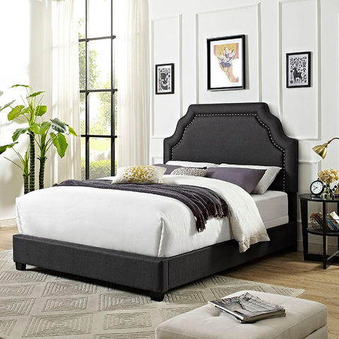 Crosley Loren Keystone Upholstered Queen Bedset In Charcoal Linen