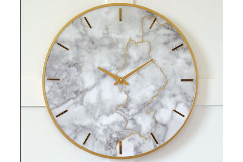 Jazmin Wall Clock Gray/Gold Finish by Ashley Furniture