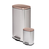 Honey Can Do 30L & 5L Steel Rectangular Trash Can Combo, Silver/Rose Gold