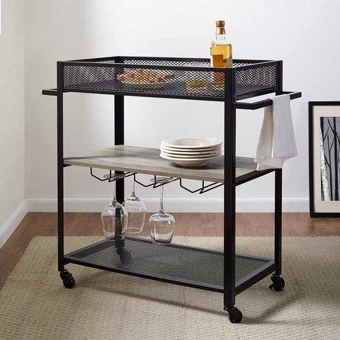 "36"" Bar Cart with Shelf and Hangers - Grey Wash"